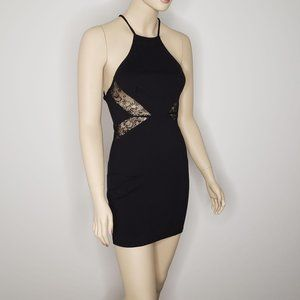 Lulu's Black Halter Cutout Lace Mini Dress Medium